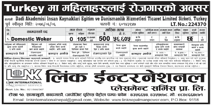 Jobs in Turkey for Nepali, Salary Rs 56,605