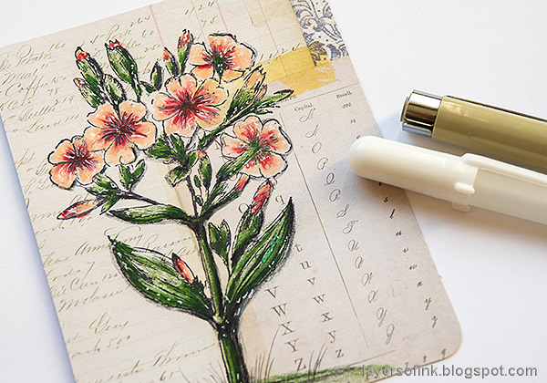 Layers of ink - Vintage Floral Tag Tutorial by Anna-Karin Evaldsson. Color the vintage flowers.