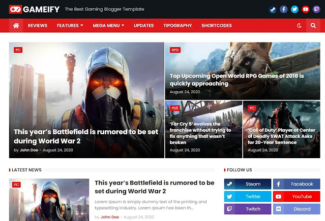 Gameify premium blogger theme