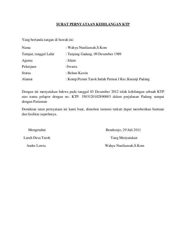 7 Contoh Surat Pernyataan Dan Cara Membuatnya Kumpulan