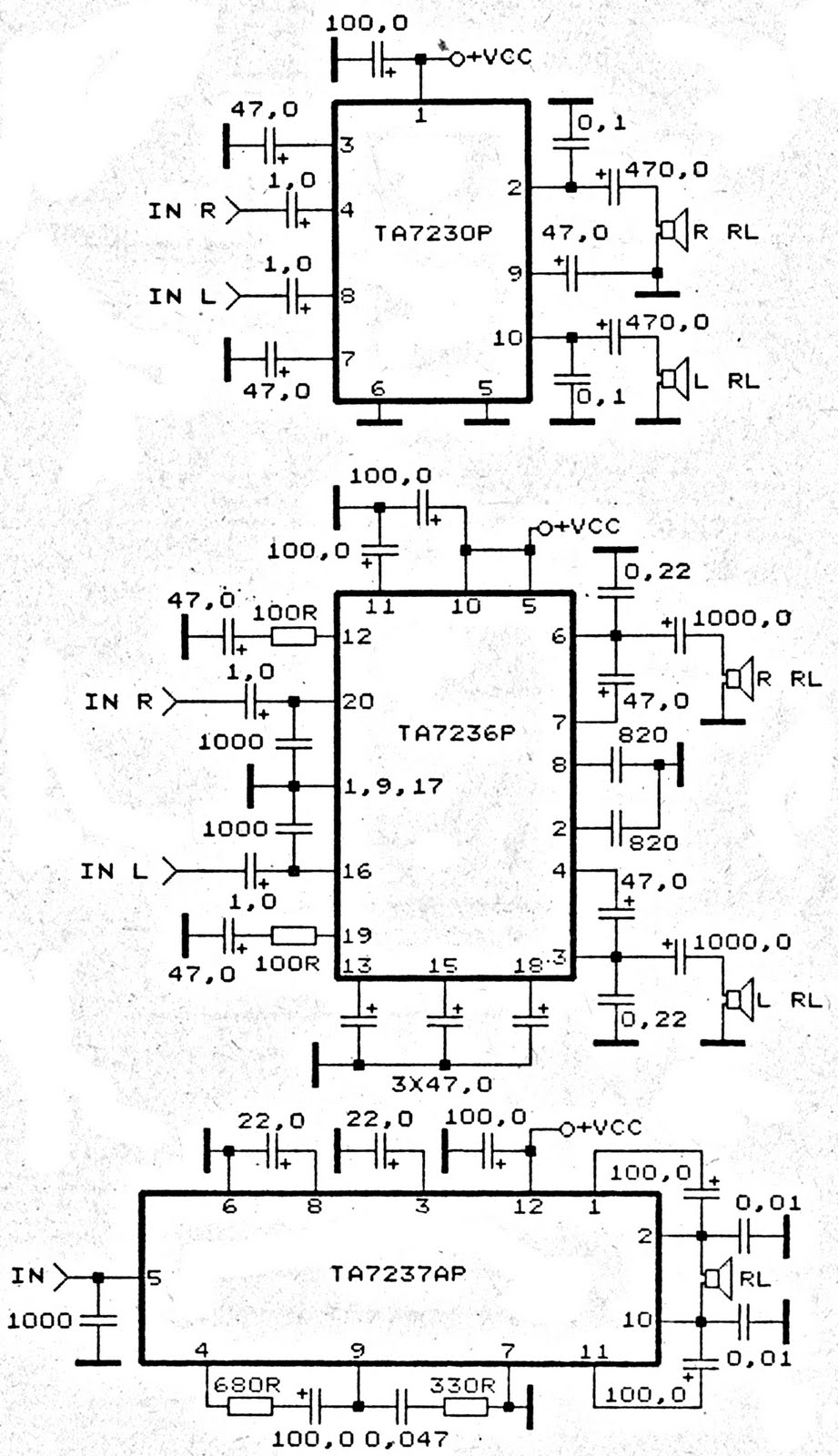TA7230P, TA7236P, TA7237AP amplifier schematic - Power Amplifier