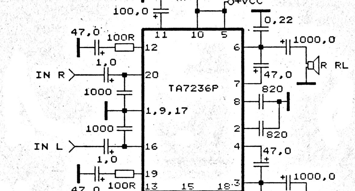 Circuit diagram: TA7230P TA7236P TA7237AP amplifier schematic