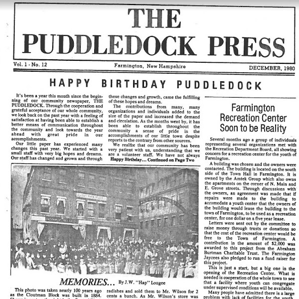 Farmington Historical Society Aquires Puddledock Press Back Issues & More!