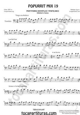 Partitura de Trombón y Bombardino Sheet Music for Popurrí Mix 19 Partituras de Tengo una Muñeca vestida de Azul, Los Gatitos, Vamos a contar Mentiras, A mi Burro le duele la cabeza Trombone andEuphonium
