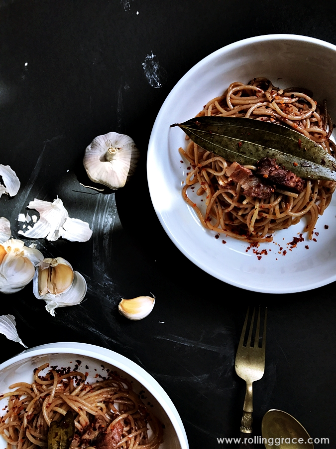 Red Wine Braised Pasta With Pork Chunks