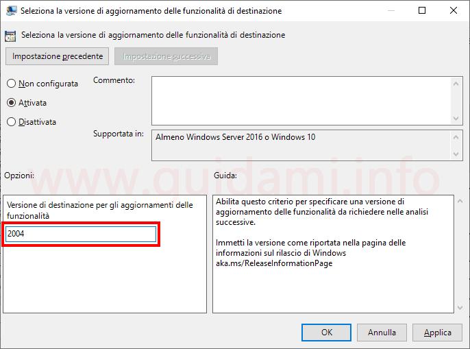 Windows 10 finestra impostazione Editor criteri di gruppo locali