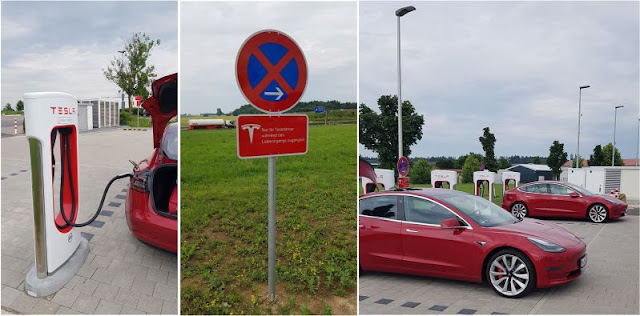 Tesla E-Auto-Tankstelle klein und unauffällig