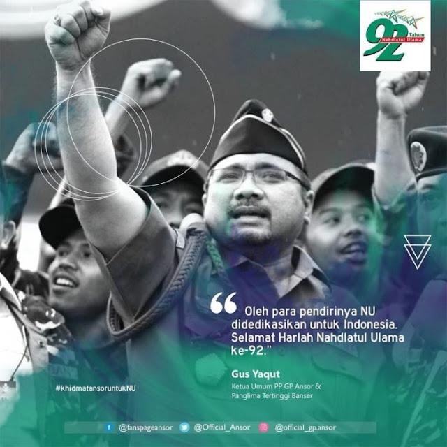 Di Harlah NU Ke-92, Gus Yaqut: NU Sudah Didedikasikan untuk Indonesia, NKRI Harga Mati
