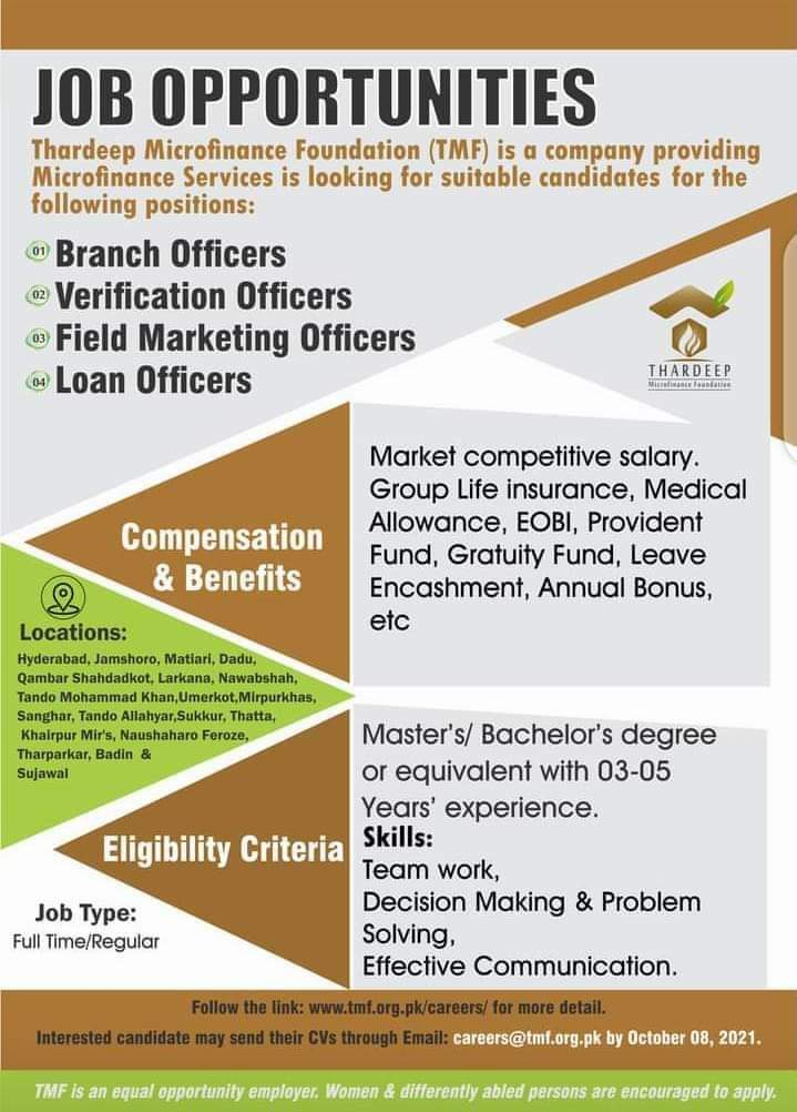 Thardeep Microfinance Foundation TMF Jobs 2021 For Branch Officers, Verification Officers, Field Marketing Officers and Loan Officers