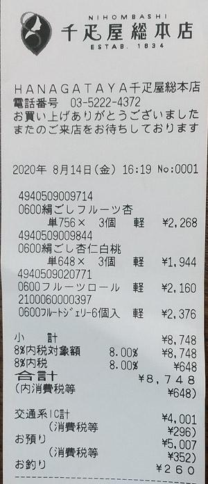 千疋屋総本店 東京駅銘品館店 2020/8/14 のレシート