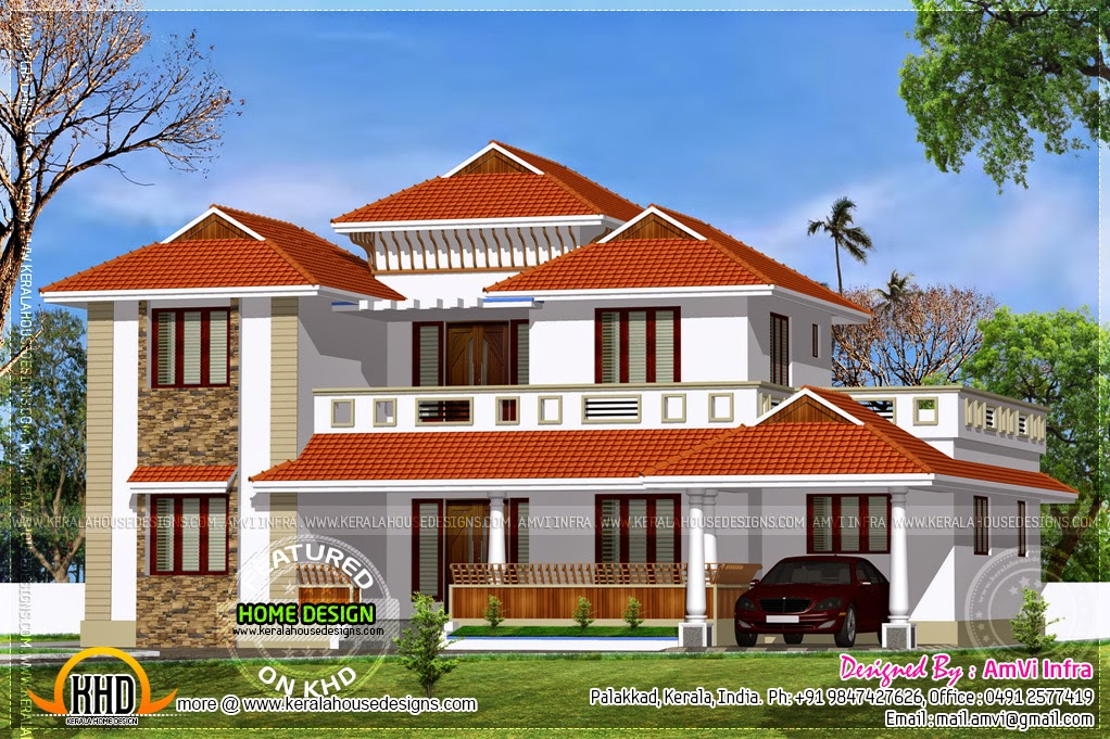 Traditional home with modern elements kerala home design for Traditional farmhouse plans