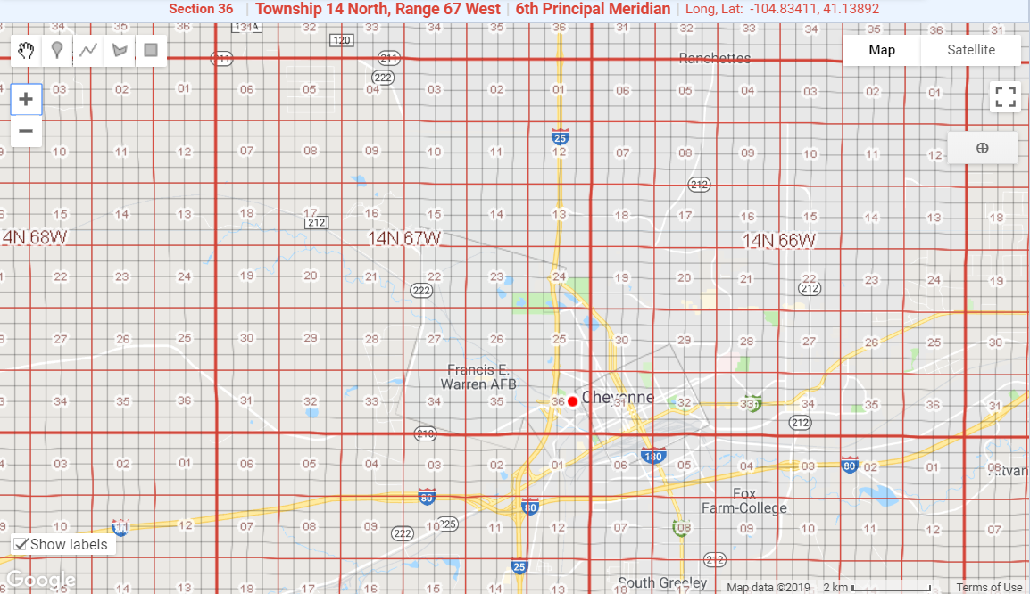 Section Township Range on Google Maps example from Wyoming with section labels
