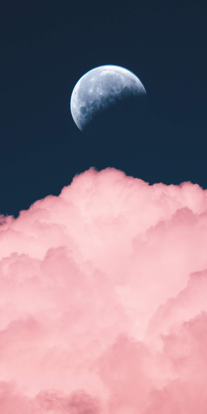 Moon in the pink clouds