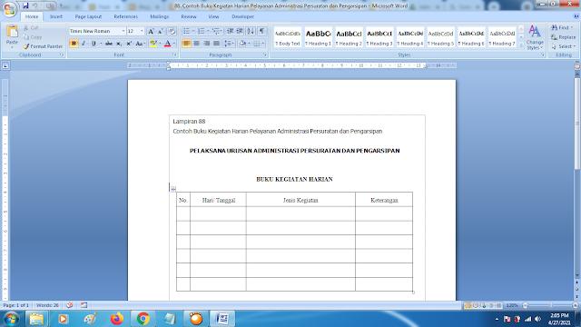 Contoh Format Buku Kegiatan Harian Pelayanan Administrasi Persuratan dan Pengarsipan Terbaru