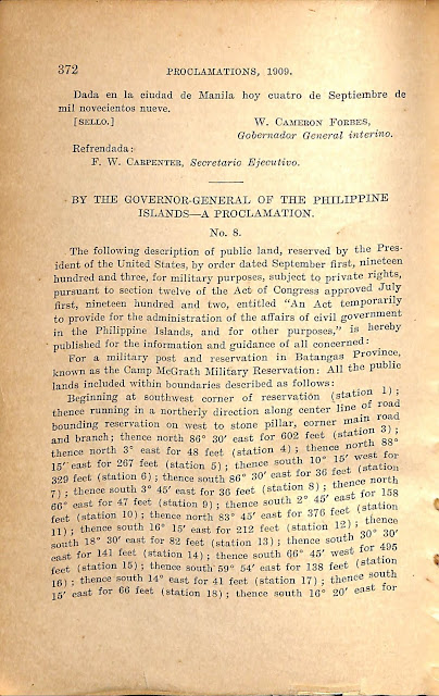 Proclamation 10 series of 1909 in English.