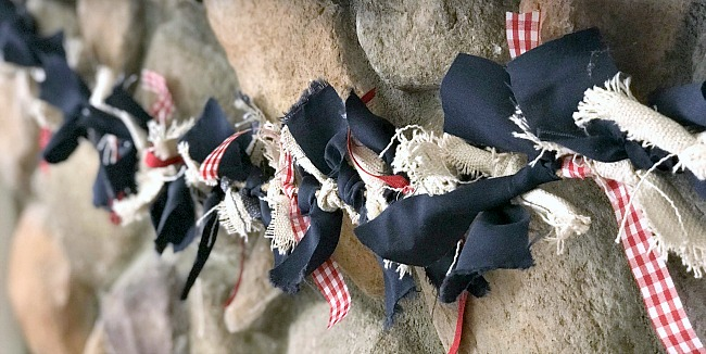 Red, White and Blue Rag Garland For the Fourth of July