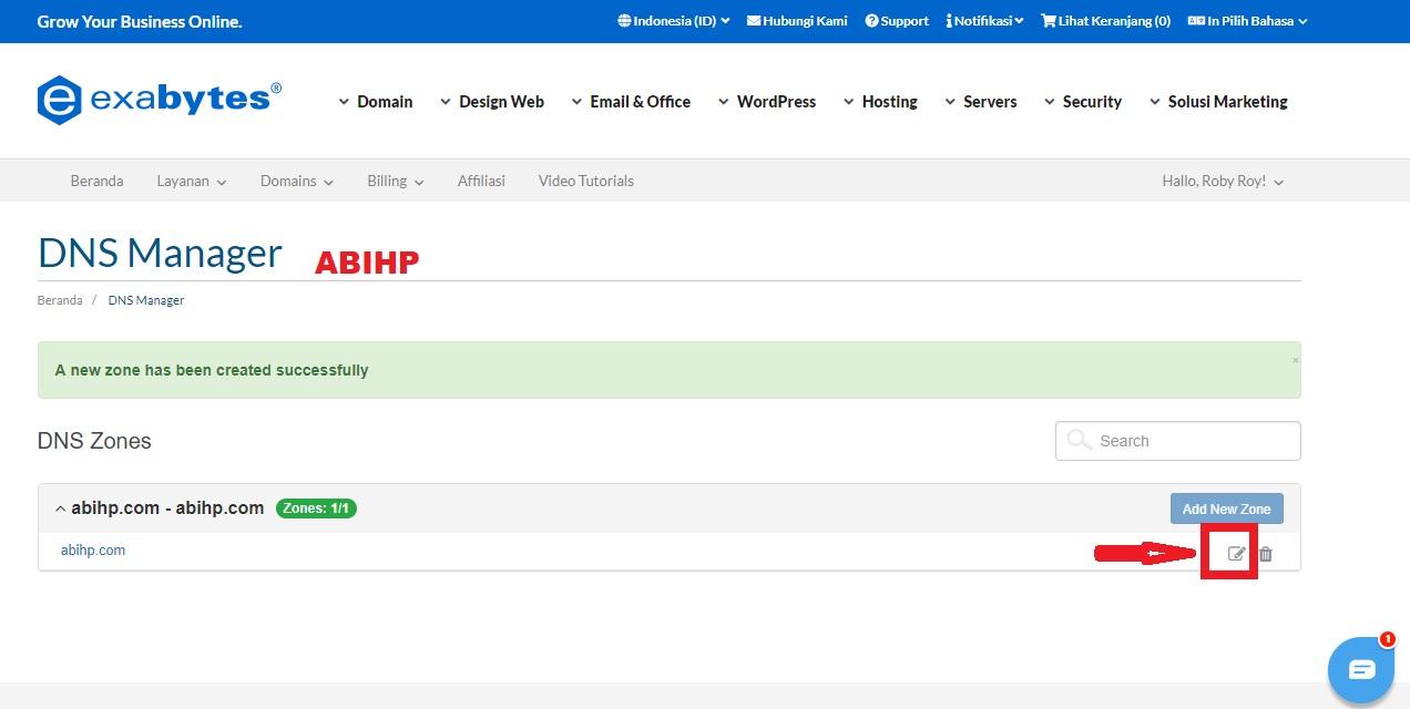 Pilih logog edit untuk merubah domain dns Exabytes.