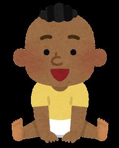 赤ちゃんのイラスト(黒人・男)