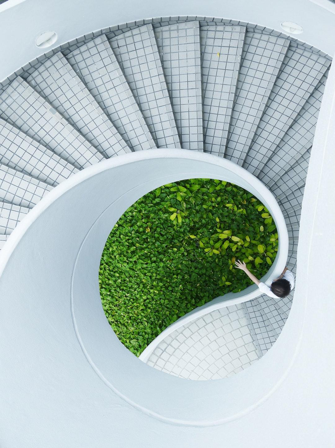 حديقة خضراء جميلة مع سلم حلزوني خلفيات ايفون 6s