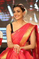 Kajal Aggarwal in Red Saree Sleeveless Black Blouse Choli at Santosham awards 2017 curtain raiser press meet 02.08.2017 030.JPG