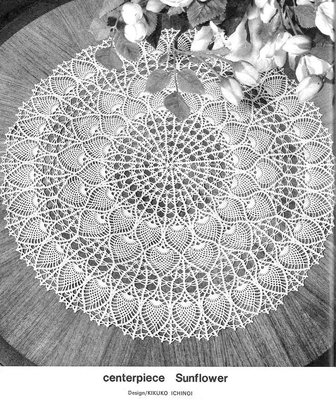 Doily Tablecloth , Round tablecloth, Pineapple doily, Vintage crochet pattern