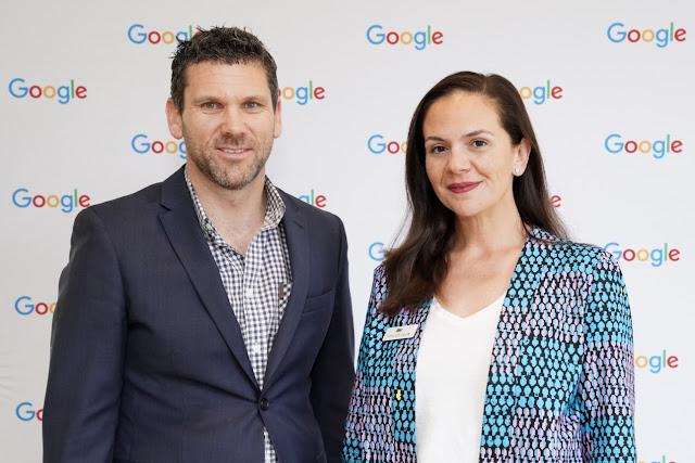 Photo of Wagga Wagga Chamber of Commerce Board Member Rhys Bower with Google Australia Country Director Mel Silva.
