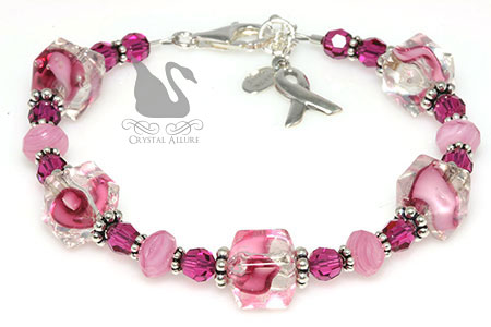 Pink Ribbons Breast Cancer Awareness Bracelet (B092)