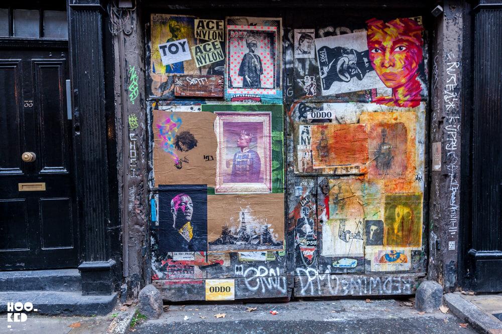 England, London, Shoreditch paste-ups on Fournier Street