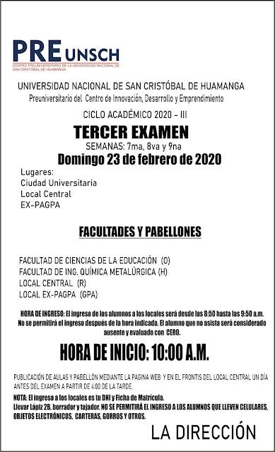 TERCER EXAMEN CICLO ACADÉMICO 2020 -III