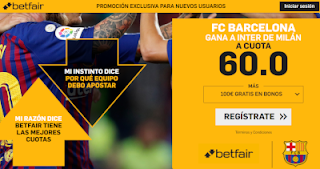 betfair supercuota champions Barcelona gana al Inter 6 noviembre