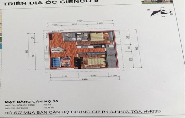 Sơ đồ thiết kế căn hộ 30 chung cư B1.3 HH03B Thanh Hà Cienco 5