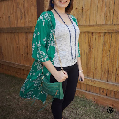 awayfromblue Instagram | Jeanswest Delilah Long Line Kimono in Green Floral with tee and black skinny jeans fashion show spring outfit