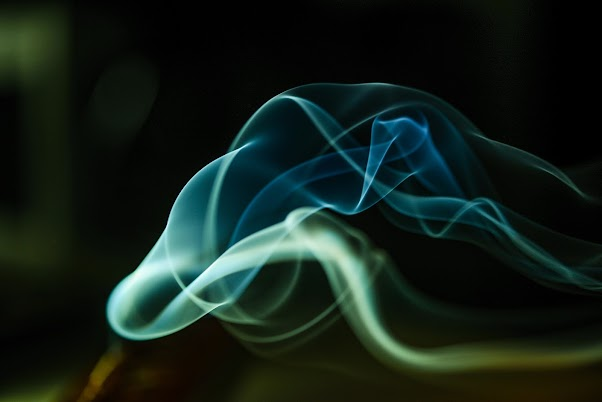 Art of Blue Green and White Smoke Light