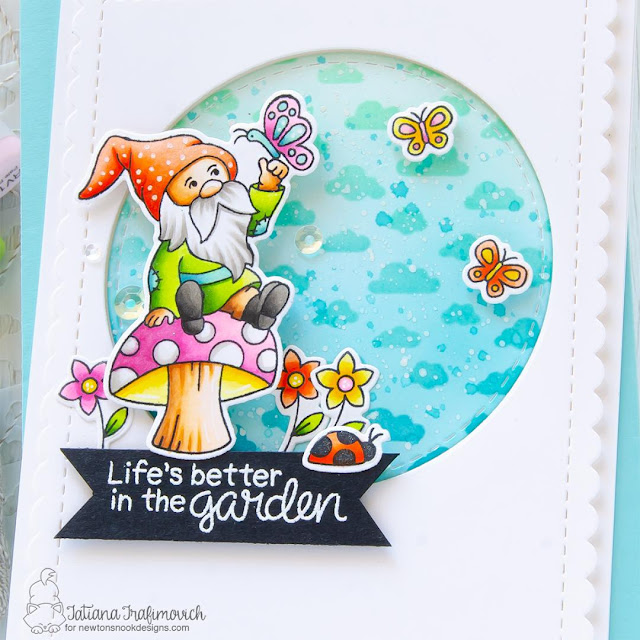 Gnome Garden Card by Tatiana Trafimovich | Gnome Garden Stamp Set, Petite Clouds Stencil, and die sets by Newton's Nook Designs #newtonsnook
