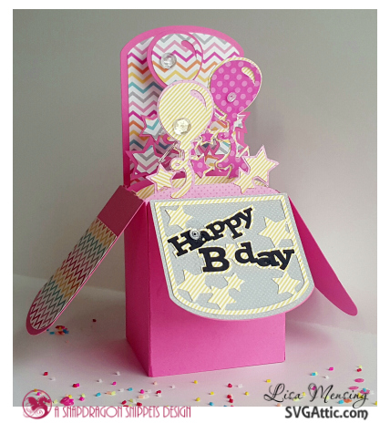 This is a picture of a SVG Attic box Birthday card with balloons.