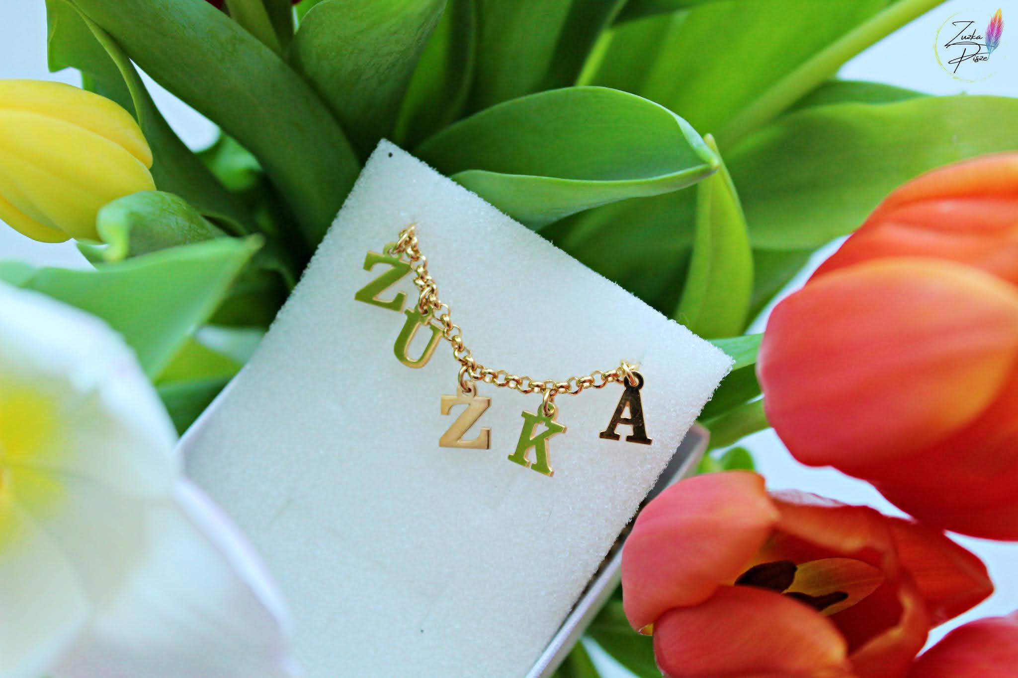 Choker Name Necklace - choker z 24 karatowego złota