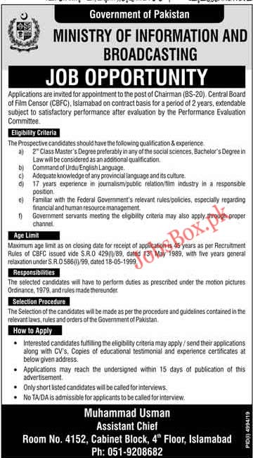 Jobs in Ministry of Information and Broadcasting Govt of Pakistan 2020