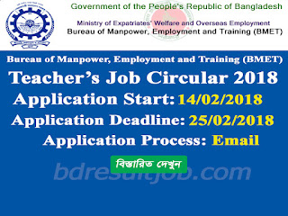 BMET Teacher's Re-Recruitment Circular 2018