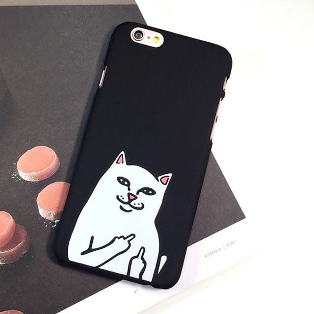 Majored Cute 3D Cartoon Black Middle Finger Cat Pocket Despise Cat Kitty Silicone Rubber Phone Case Cover for Apple iPhone 8