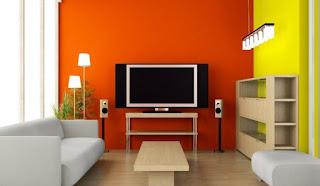 sala en naranja y amarillo
