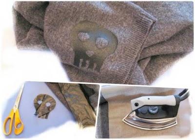 Apliques incrustados en la ropa con plastico de bolsas de basura