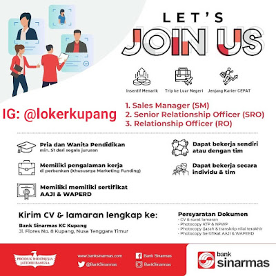 Lowongan Kerja Bank Sinarmas KC Kupang Sebagai Sales Manager, Senior Relationship Officer, Relationship Officer