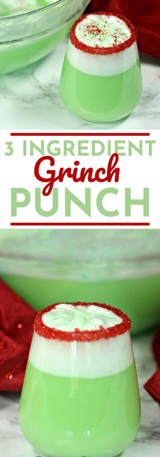 Easy Grinch Punch #drinks #nonalcoholic #party #punch #christmas