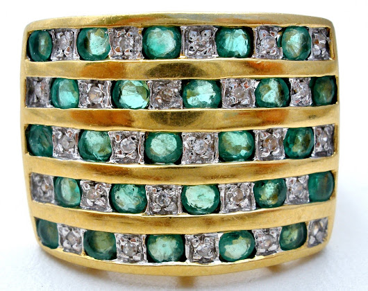 Wide 18K Gold Emerald and Diamond Ring Vintage