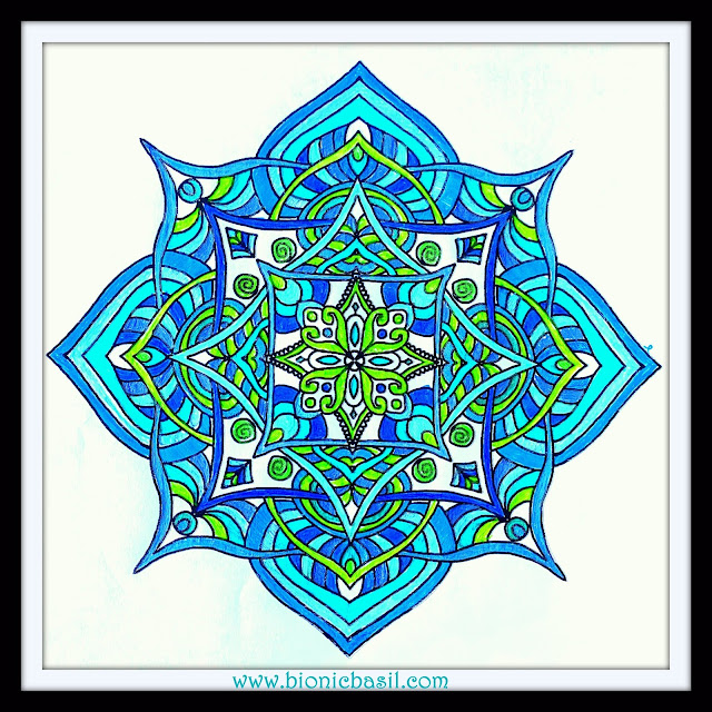 Mandalas on Monday ©BionicBasil® Colouring With Cats Mandala #99 coloured by Cathrine Garnell