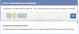 رسالة شكر من ادارة الفيس بوك علي مراسلتك لهم