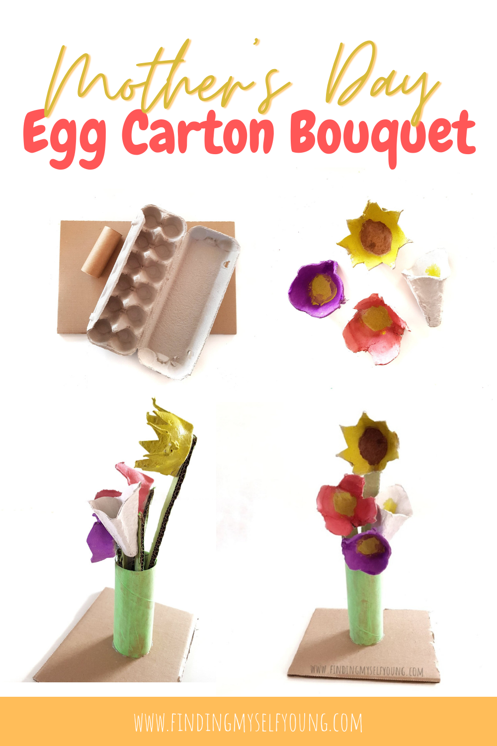 how to make an egg carton bouquet of flowers for mothers day