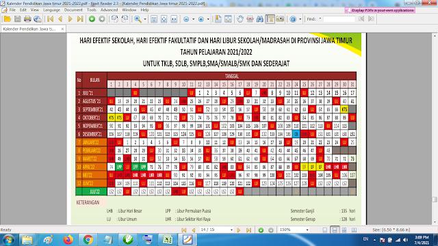 Download Kalender Pendidikan Tahun Pelajaran 202/2022 Dinas Pendidikan Provinsi Jawa Timur