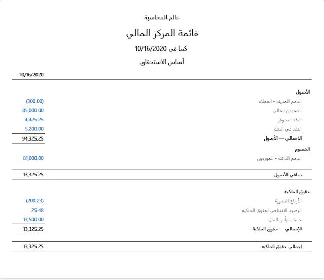 قائمة المركز المالي برنامج مانجر المجاني