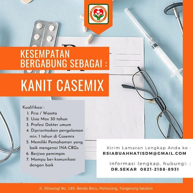 "Loker Dokter ""KANIT CASEMIX"" RSIA BUAH HATI Pamulang, Tangerang Selatan"